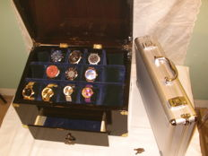 Large watch casket from wood - with watches and watch case