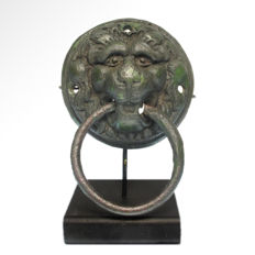 Bronze Lion Door Knocker, Body: 9.6 cm D (excluding loop) - total length =14.1 cm L