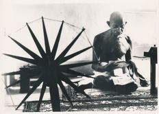 Margaret Bourke White (1904-1971)/United Press International -  Gandhi and the Spinning Wheel, 1946
