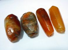 Ancient Carnelian Beads for Necklace, 33 x 14mm; 31 x 14mm; 30 x 16mm; 29 x 18mm,  233 carats (4)