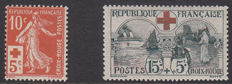 France 1914/1918 - 'Red Cross' Yvert No. 147 and 156