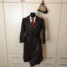 Post WW2 Heavy German Long Horsehide Leather Coat and Aviation Hat
