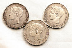 Spain - Alfonso XIII - Lot 5 Pesetas in silver - Years 1886, 1897 and 1898 - Madrid