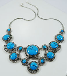 925 Sterling silver necklace with natural Turquoise & Marcasite