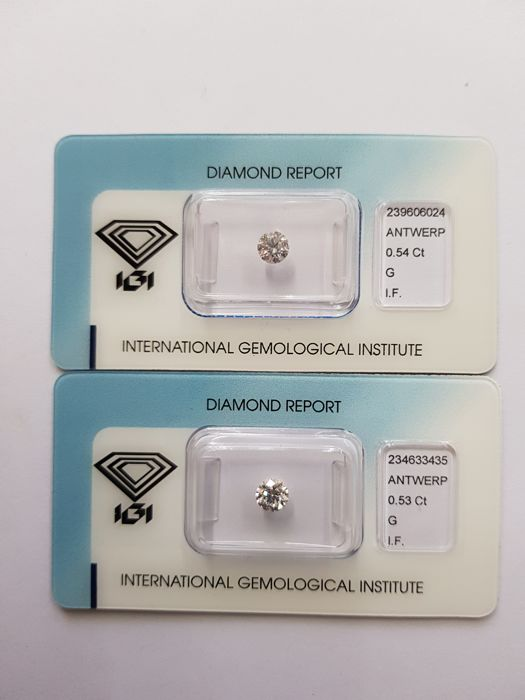 Couple brilliant cut diamonds 1.07 ct in total G I.F