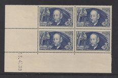 France 1939 - Clement Ader in block of 4 with Coindate - Yvert 398