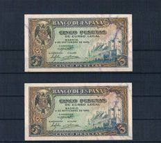 Spain - 5 Pesetas 1940 Series C - Pick 123a - Correlative pair