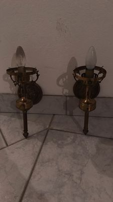 Pair of brass and bronze wall sconces, Vienna, circa 1940
