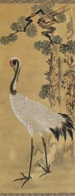 Crane and Pine by Doi Giho 土井義芳 (1874- death unknown) incl. original scroll box - Japan - ca. 1910