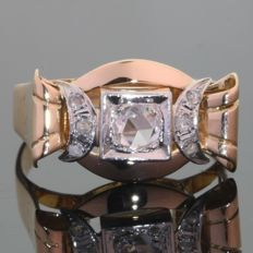 Vintage unisex retro ring from the fifties with 7 rose cut diamonds