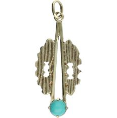 14 kt - Yellow gold pendant set with turquoise - Length x width: 3.2 x 1.3 cm