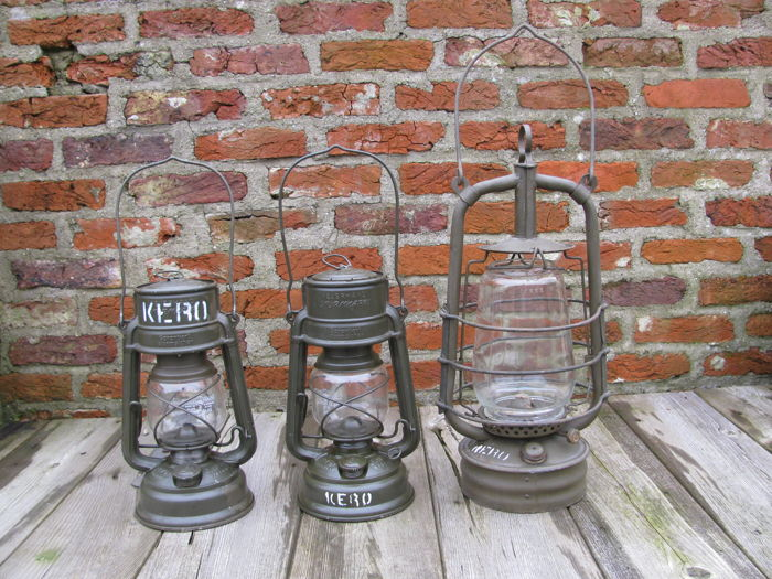 3 Original army storm lamps - Germany and England