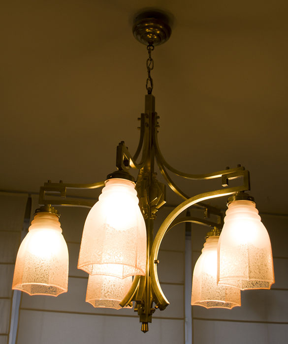 Art Deco Five Branched Brass Chandelier Partly Matte