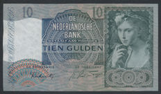 Netherlands - 10 Guilders 1940 II - 'Girl with grapes' - mevius 42-2