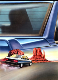 Jean-Pierre Robin - Renault R21 - original advertising illustration for Veedol lubricants - 44 x 60 cm