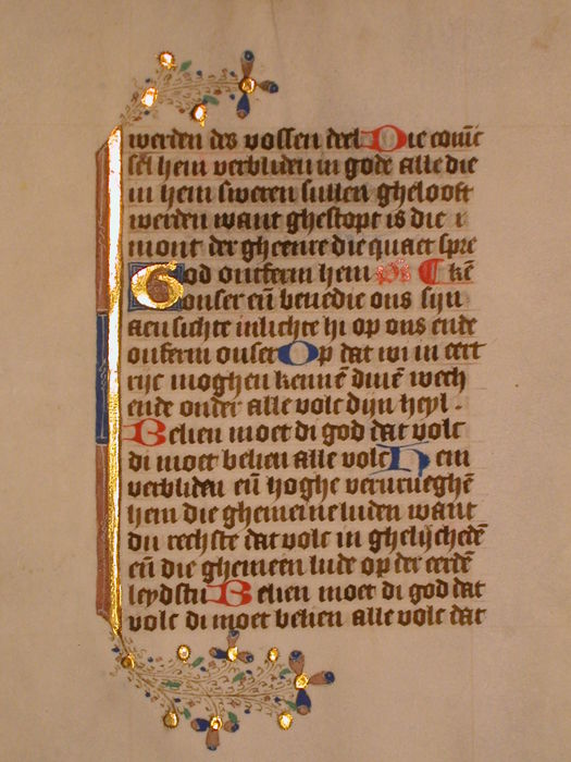 Manuscript; Richly illuminated page from a medieval book of hours from the Netherlands, on vellum - c. 1460
