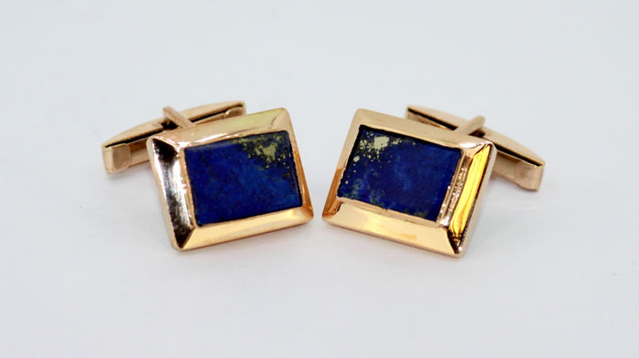 14K yellow gold cufflinks with lapis lazuli, 1980's