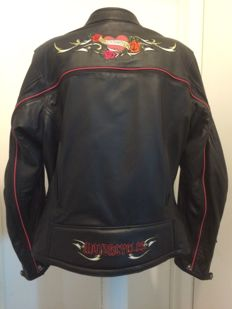 "Harley-Davidson Womens Leather Jacket ""Crimson Heart' Switchback - 2008"