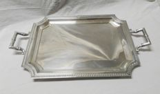 Silver tray with handles and with smooth lines, M. Espuñes, Madrid, Spain, 20th Century