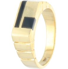 14 kt - Yellow gold ring set with onyx - Ring size: 20.75 mm
