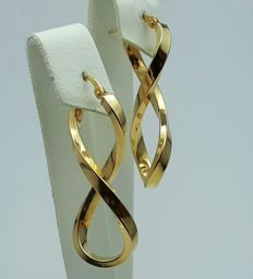 Infinity Earrings, 14/ 585 Ct Yellow Gold, Length 3.70cm, Total weight 2.24g