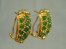 14 kt gold earrings with round faceted, natural emeralds weighing 2.6 ct in total NO RESERVE