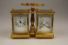 Gold plated travel clock with hygrometer and barometer - 20th century
