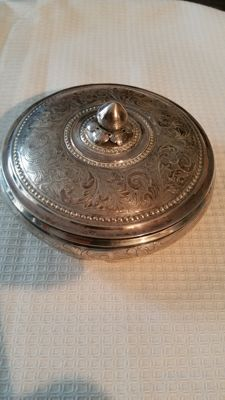 large silver chocolate box with lid, ca 1930-1950