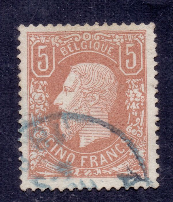 Belgium 1869/1883 - King Leopold II 5F Brownish red - OBP 37A