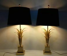 attributed to Boulanger Reed - A Pair Pineapple Leaf Lamps