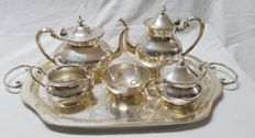 Silver coffee and tea set. Spain, 20th century