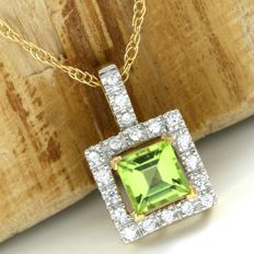 14kt Yellow Gold 1.20 ct Peridot, 0.20 ct White Sapphire Pendant Necklace - 45 cm