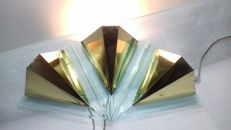 Unknown Designer - A Set of Three Plexiglass and Metal Wall Sconces