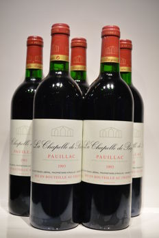 1993 La Chapelle de Bages, 2nd wine Chateau Haut Bages Liberal, Pauillac - 5 bottles (75cl)
