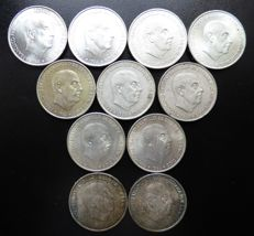 Spain - Lot of 11 coins - 11 x 100 Franco pesetas 1966*66/67/68/70