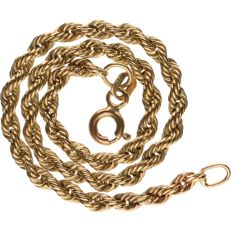 14 kt yellow gold twisted rope link bracelet - Length: 18 cm