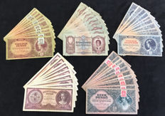 Hungary- Lot 50 banknotes- 5 different 10 of each- 1932-1946