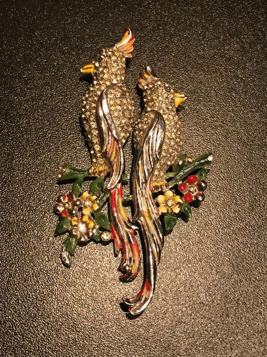 rare  pair bird brooch duetted fur clip by Coro