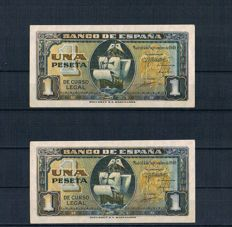 Spain - 2 x 1 pesetas 1940 Series F - Pick 122a - Correlative pair