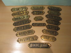 19 antique solid bronze name plaques from a ship