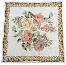 Vintage Floral Tapestry - Second Half of 20th Century - Table Cover/Wall Hanging - France - 85 cm x 83 cm