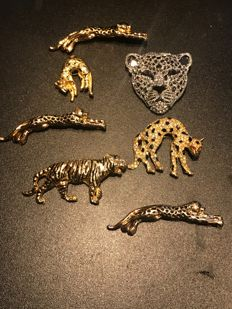 Collection of 7 designer panther big cat brooches some Sphinx
