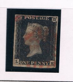 Great Britain Queen Victoria 1840 - One Penny Black Stanley Gibbons 2, Plate 1b