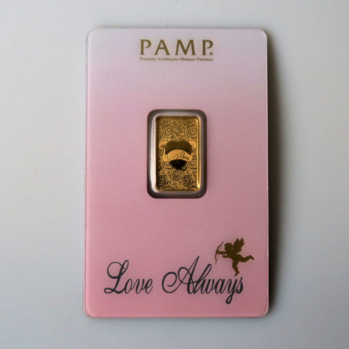 Switzerland - Pamp Suisse - 5 g 999.9 gold / gold bar - In a blister pack - Love Always - With certificate and serial number