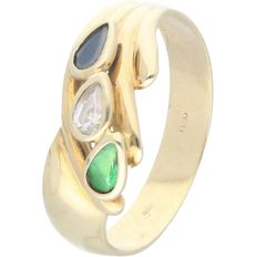 14 kt - Yellow gold ring set with sapphire, zirconia and emerald - Ring size: 18.5 mm