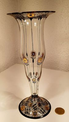 Fachschule Haida - Clear glass vase with enamelled and gilded decor