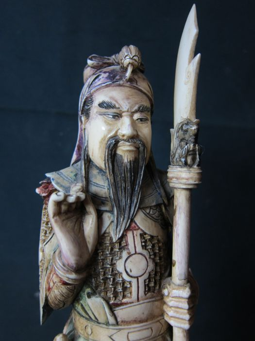 Large Antique Polychrome Ivory Statue Depicting A Warrior China