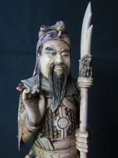 Large antique polychrome ivory statue depicting a warrior - China - around 1930/40