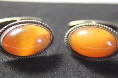Silver cufflinks with natural Baltic amber, period 1930
