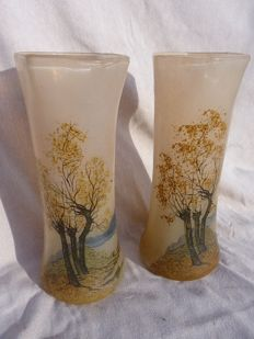 Legras - Pair of enamelled glass vases
